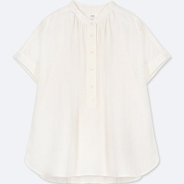 WOMEN LINEN BLENDED SHORT-SLEEVE BLOUSE, WHITE, medium