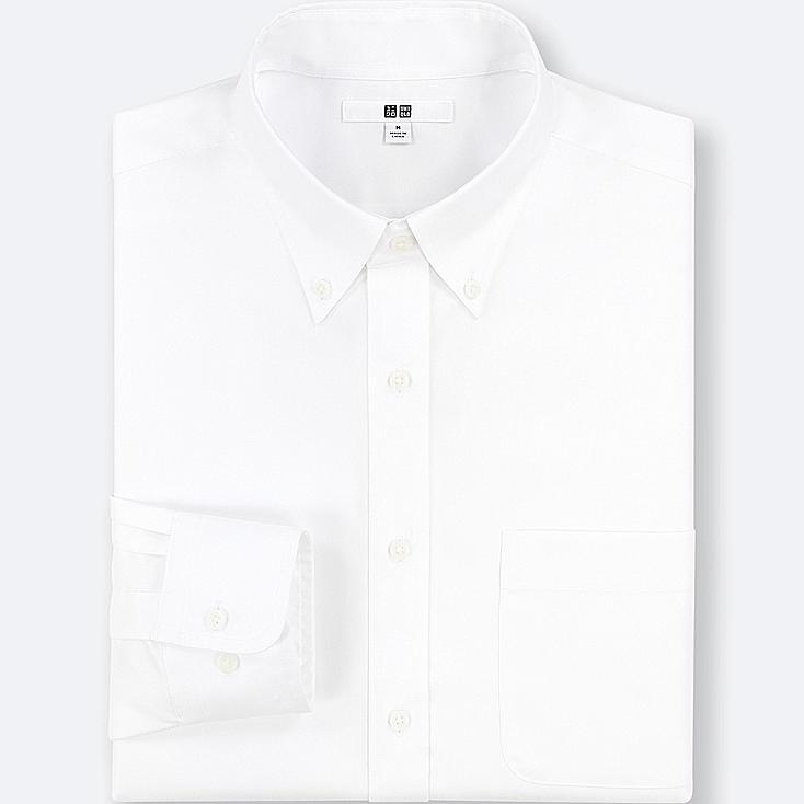 MEN EASY CARE REGULAR-FIT LONG-SLEEVE SHIRT (XL), WHITE, large