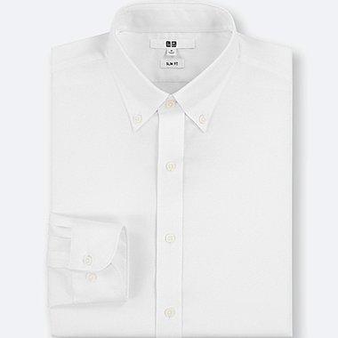 MEN EASY CARE STRETCH SLIM-FIT LONG-SLEEVE SHIRT, WHITE, medium