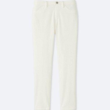 WOMEN CROPPED LEGGINGS PANTS, WHITE, medium
