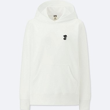 WOMEN KAWS X PEANUTS LONG-SLEEVE HOODED SWEATSHIRT, WHITE, medium