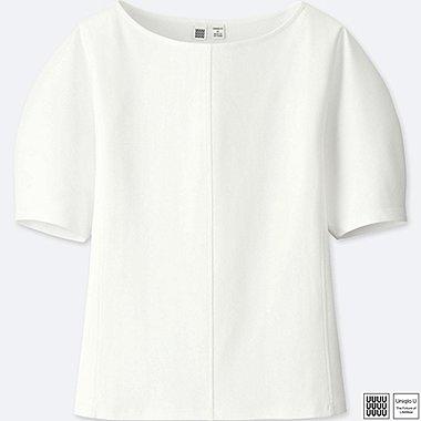 WOMEN U BOAT NECK SHORT-SLEEVE T-SHIRT, WHITE, medium