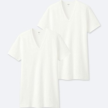 MEN SUPIMA COTTON V NECK SHORT SLEEVED T-SHIRT (TWO PACK)