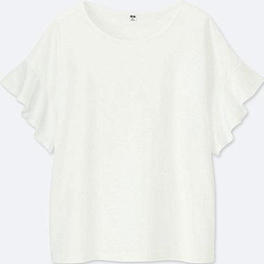 WOMEN SQUARE FRILL SLEEVE DESIGN SHORT-SLEEVE T-SHIRT, WHITE, medium