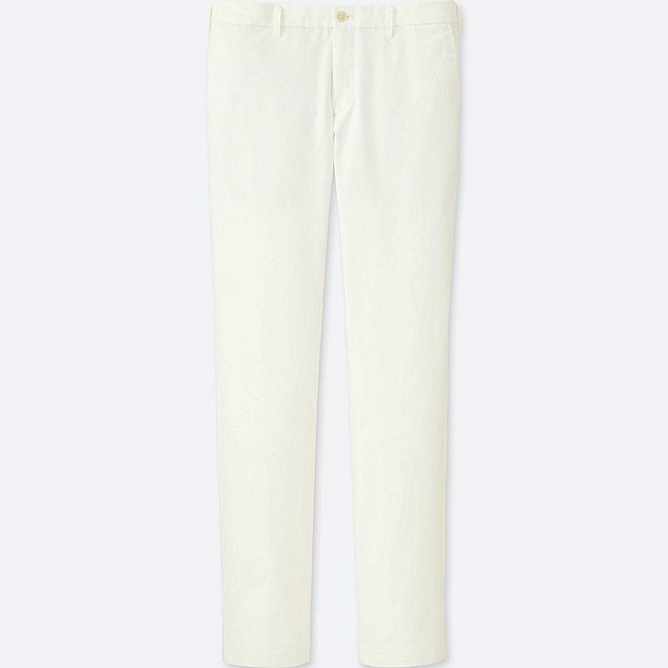 MEN SLIM-FIT CHINO FLAT FRONT PANTS, WHITE, large