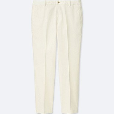 MEN RELAXED ANKLE-LENGTH PANTS (COTTON), WHITE, medium