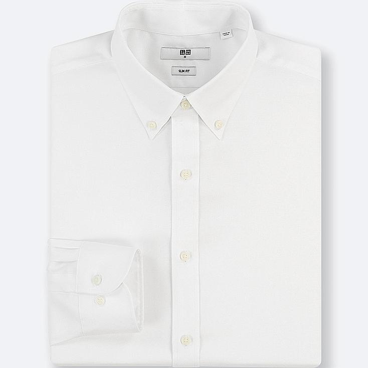 MEN EASY CARE OXFORD STRETCH SLIM-FIT LONG-SLEEVE SHIRT, WHITE, large