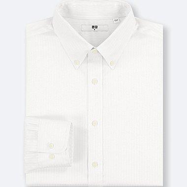 MEN EASY CARE DOBBY REGULAR-FIT LONG-SLEEVE SHIRT, WHITE, medium