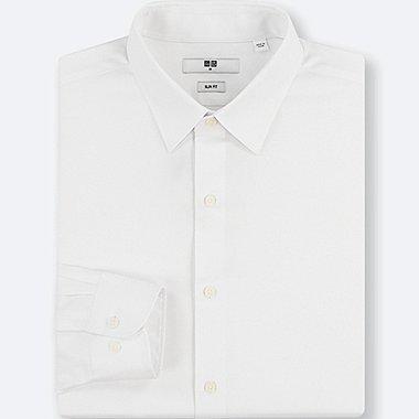 MEN EASY CARE DOBBY STRETCH SLIM-FIT LONG-SLEEVE SHIRT, WHITE, medium