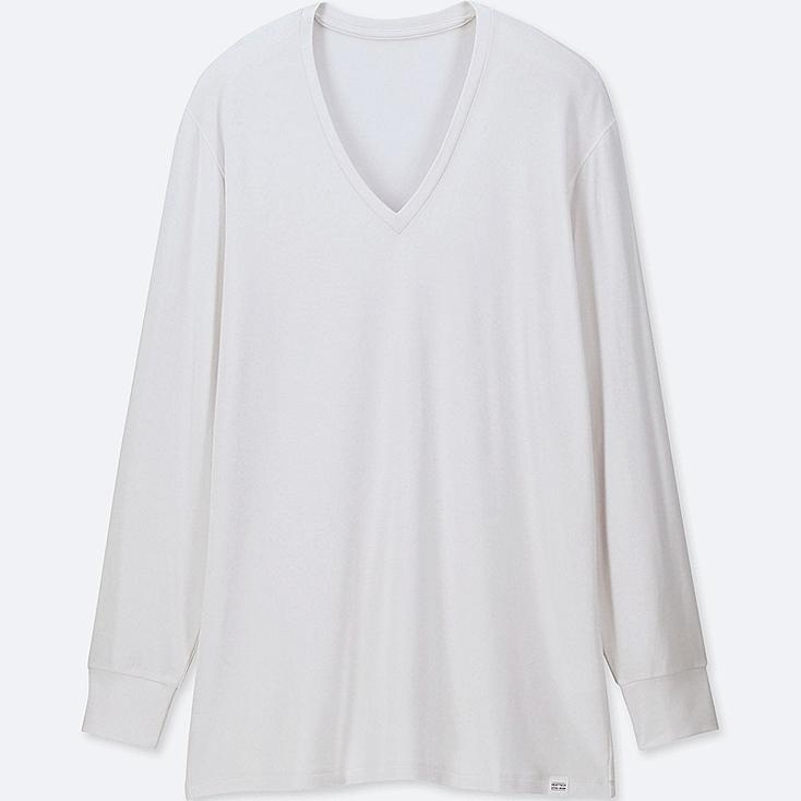 MEN HEATTECH EXTRA WARM V-NECK LONG-SLEEVE T-SHIRT, WHITE, large