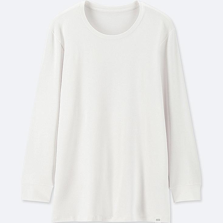 MEN HEATTECH EXTRA WARM CREW NECK LONG-SLEEVE T-SHIRT, WHITE, large