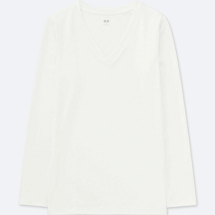 WOMEN COMPACT COTTON V-NECK LONG-SLEEVE T-SHIRT, WHITE, large