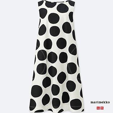 WOMEN MARIMEKKO GRAPHIC SLEEVELESS DRESS, WHITE, medium
