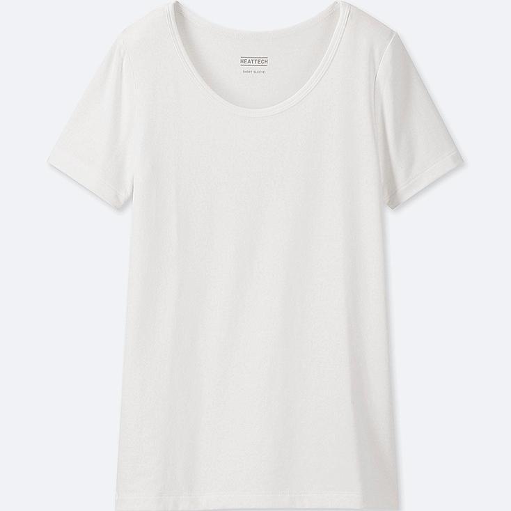 KIDS HEATTECH U-NECK SHORT-SLEEVE T-SHIRT, WHITE, large
