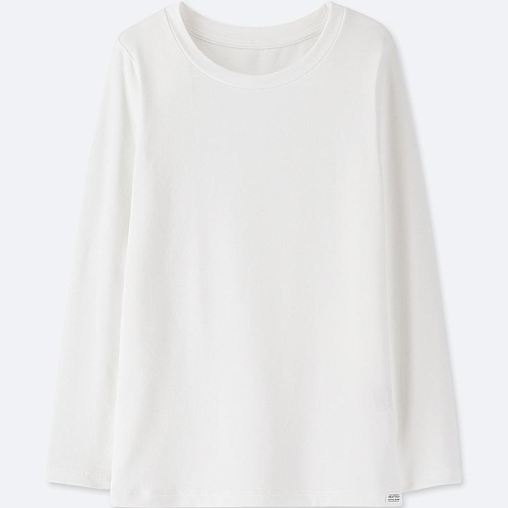 KIDS HEATTECH EXTRA WARM CREW NECK T-SHIRT, WHITE, large