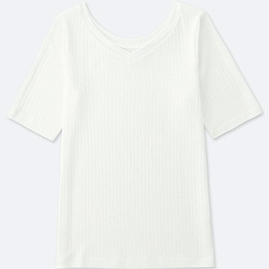 WOMEN RIBBED TWO WAY HALF SLEEVED T-SHIRT