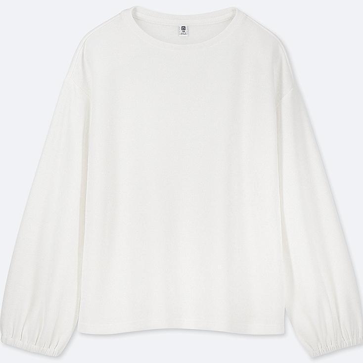 GIRLS CREW NECK GATHERED LONG-SLEEVE T-SHIRT, WHITE, large