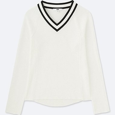 WOMEN ACTIVE V NECK SWEATER