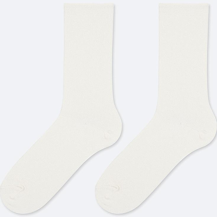 WOMEN HEATTECH SOCKS (2 PAIRS), WHITE, large