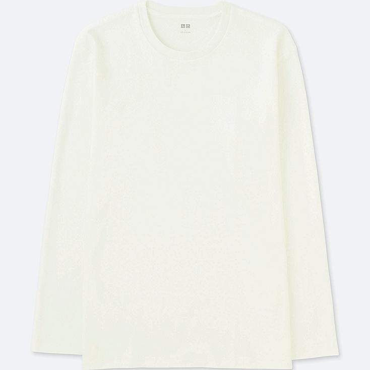 MEN SOFT TOUCH CREW NECK LONG-SLEEVE T-SHIRT, WHITE, large