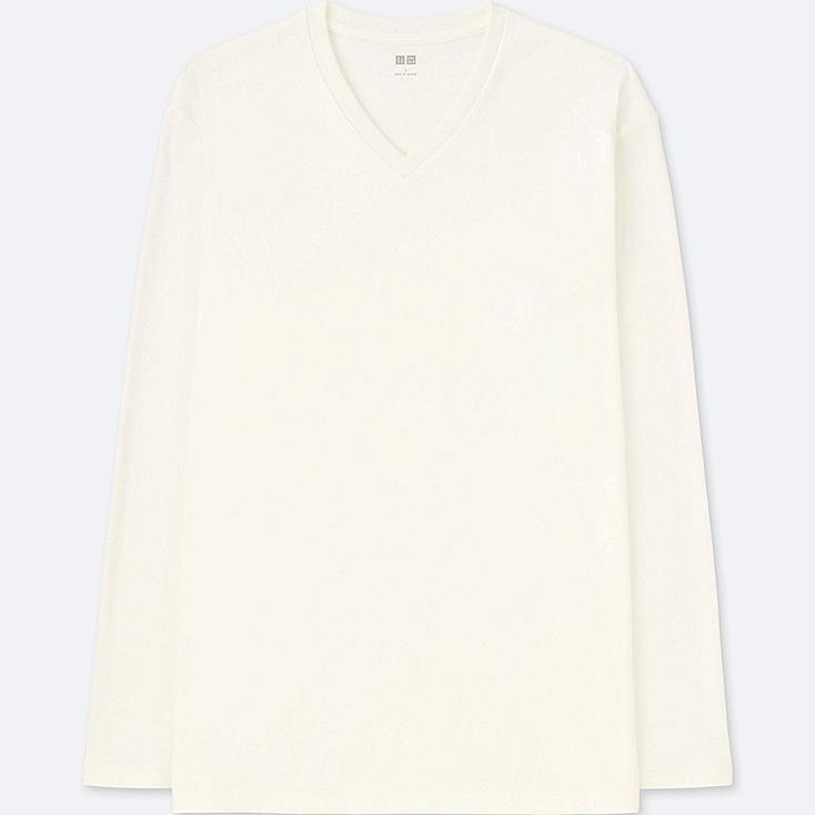 MEN SOFT TOUCH V-NECK LONG-SLEEVE T-SHIRT, WHITE, large