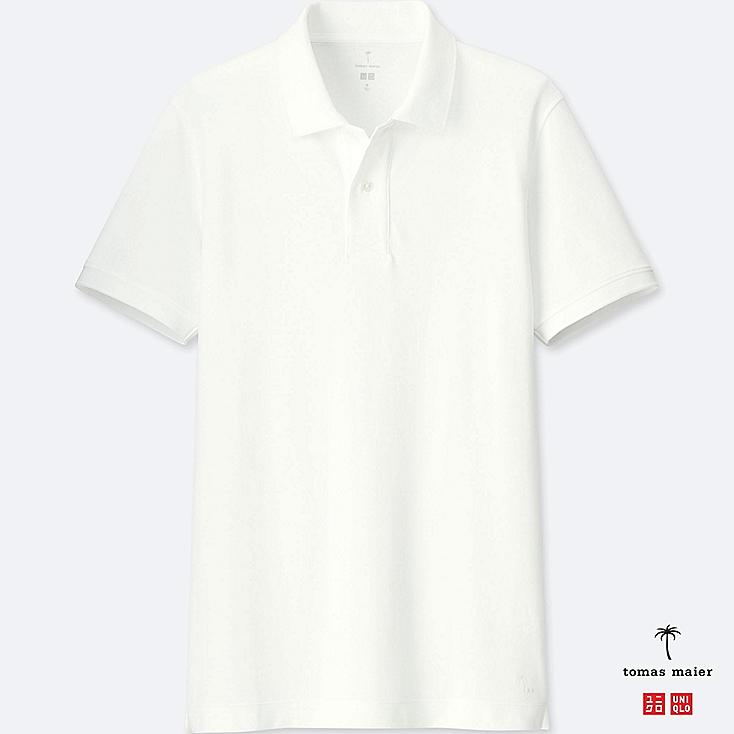 MEN AIRism PULLOVER POLO SHIRT, WHITE, large