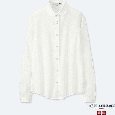 WOMEN INES PREMIUM LINEN ROUND COLLAR LONG SLEEVE SHIRT
