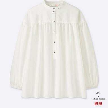 8052bce5824a2 WOMEN SOFT COTTON GATHERED 3 4 SLEEVE BLOUSE
