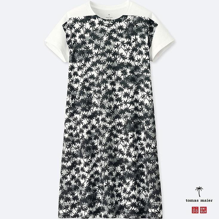 WOMEN PRINTED SHORT-SLEEVE TEE DRESS, WHITE, large