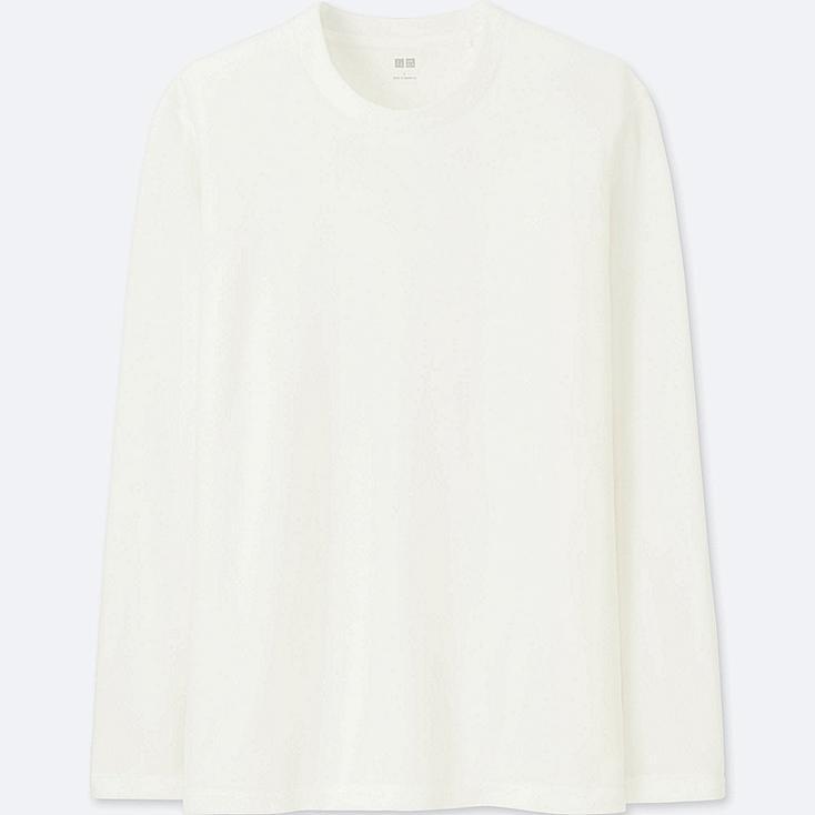 MEN HEATTECH STRETCH FLEECE CREW NECK LONG-SLEEVE T-SHIRT, WHITE, large