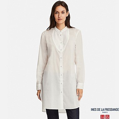 WOMEN COTTON LAWN LONG-SLEEVE TUNIC (INES DE LA FRESSANGE), WHITE, medium