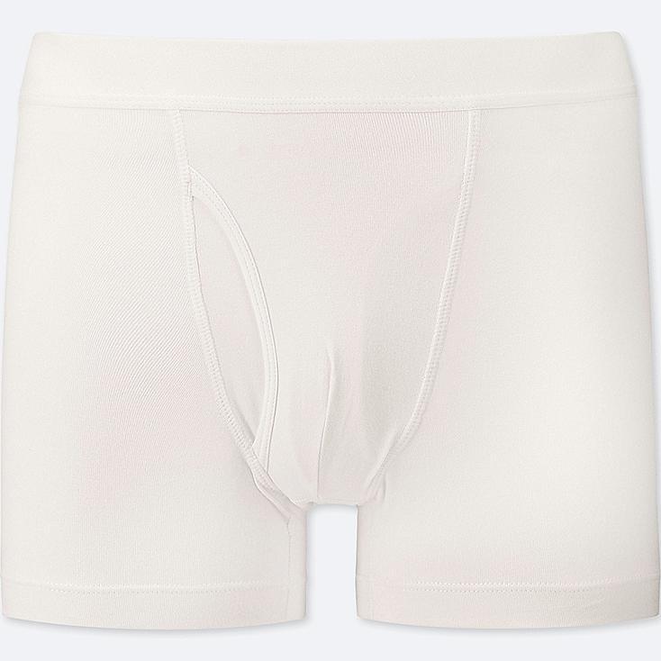 MEN SUPIMA® COTTON BOXER BRIEFS, WHITE, large