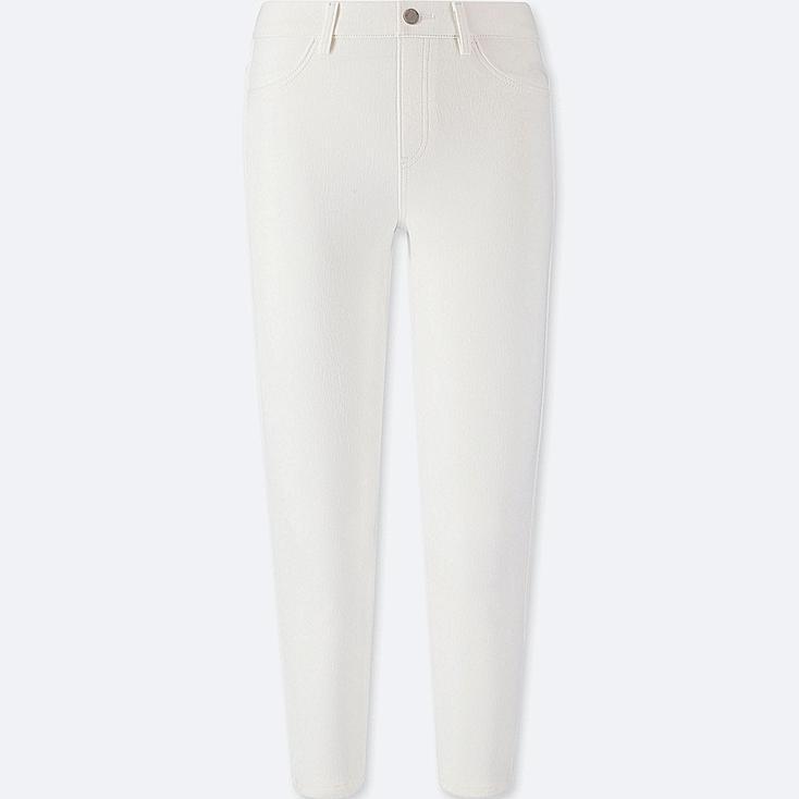 WOMEN CROPPED LEGGINGS PANTS, WHITE, large