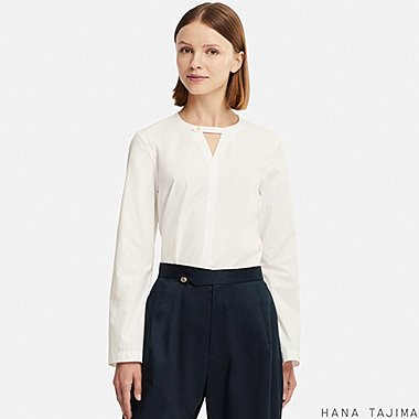 WOMEN FLARE LONG-SLEEVE BLOUSE (HANA TAJIMA), WHITE, medium