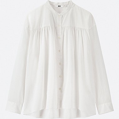 WOMEN SOFT COTTON LONG-SLEEVE BLOUSE, WHITE, medium