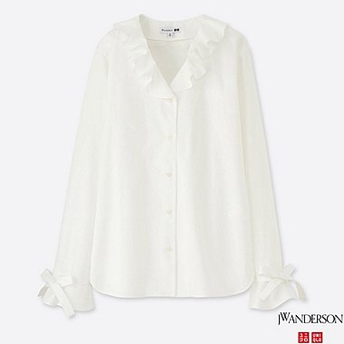 WOMEN J.W.ANDERSON EXTRA FINE COTTON FRILL BLOUSE