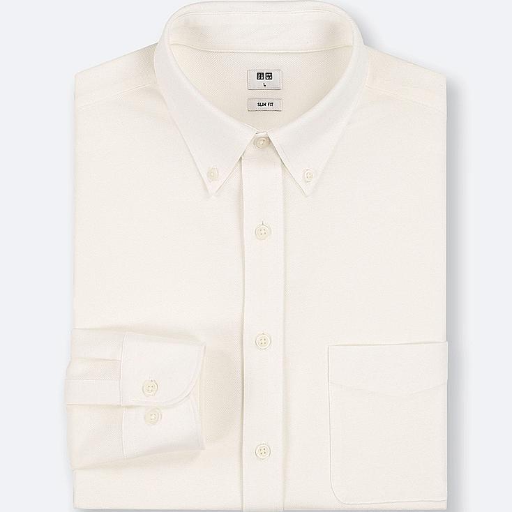 MEN EASY CARE COMFORT LONG-SLEEVE SHIRT, WHITE, large