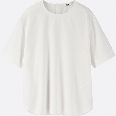 WOMEN EXTRA FINE COTTON SHORT-SLEEVE BLOUSE, WHITE, medium