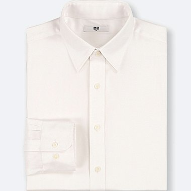 MEN EASY CARE DOBBY REGULAR-FIT LONG-SLEEVE SHIRT (ONLINE EXCLUSIVE), WHITE, medium