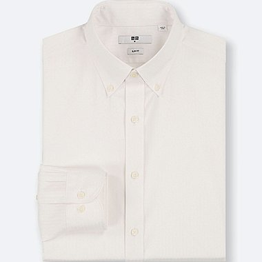 MEN EASY CARE DOBBY SLIM-FIT LONG-SLEEVE SHIRT, WHITE, medium