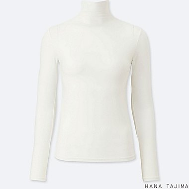 WOMEN AIRism HIGH-NECK LONG-SLEEVE T-SHIRT (HANA TAJIMA), WHITE, medium
