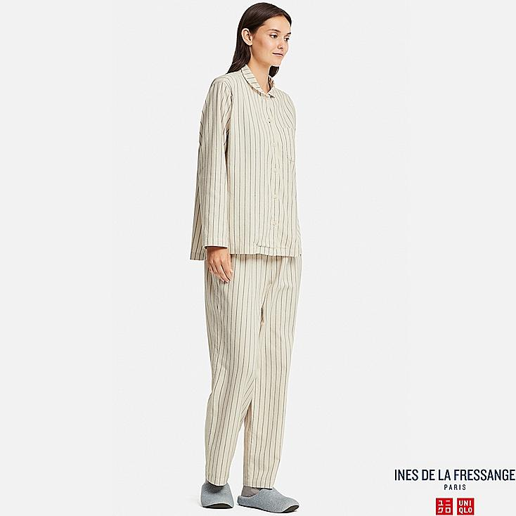 WOMEN FLANNEL LONG-SLEEVE PAJAMAS (INES DE LA FRESSANGE), WHITE, large