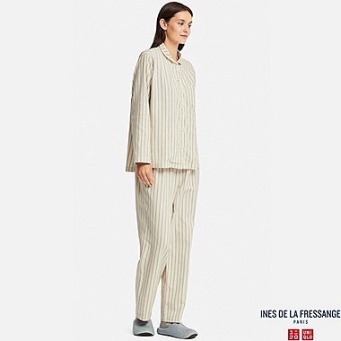 WOMEN FLANNEL LONG-SLEEVE PAJAMAS (INES DE LA FRESSANGE), WHITE, medium