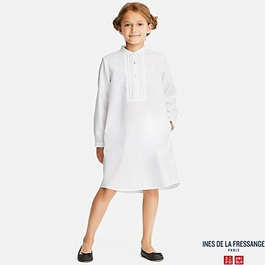 GIRLS COTTON TWILL LONG-SLEEVE SHIRT DRESS (INES DE LA FRESSANGE), WHITE, medium