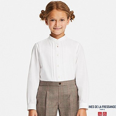 KIDS COTTON TWILL PINTUCK SHIRT (INES DE LA FRESSANGE), WHITE, medium