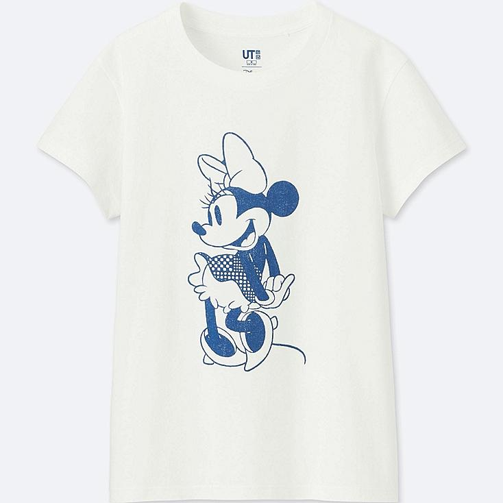 WOMEN MICKEY BLUE SHORT-SLEEVE GRAPHIC T-SHIRT, WHITE, large
