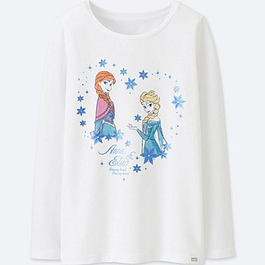 GIRLS DISNEY HEATTECH EXTRA WARM CREWNECK T-SHIRT, WHITE, medium