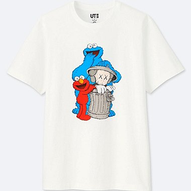 MEN KAWS X SESAME STREET GRAPHIC T-SHIRT, WHITE, medium