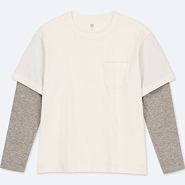 KIDS LAYERED CREW NECK LONG-SLEEVE T-SHIRT, WHITE, medium