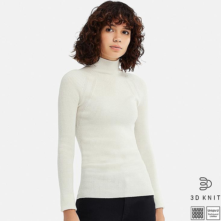 WOMEN U 3D EXTRA FINE MERINO RIBBED SWEATER, WHITE, large
